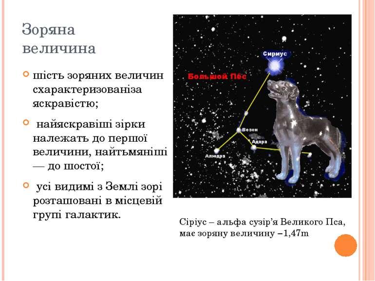 Зоряна величина шість зоряних величин схарактеризованіза яскравістю; найяскра...