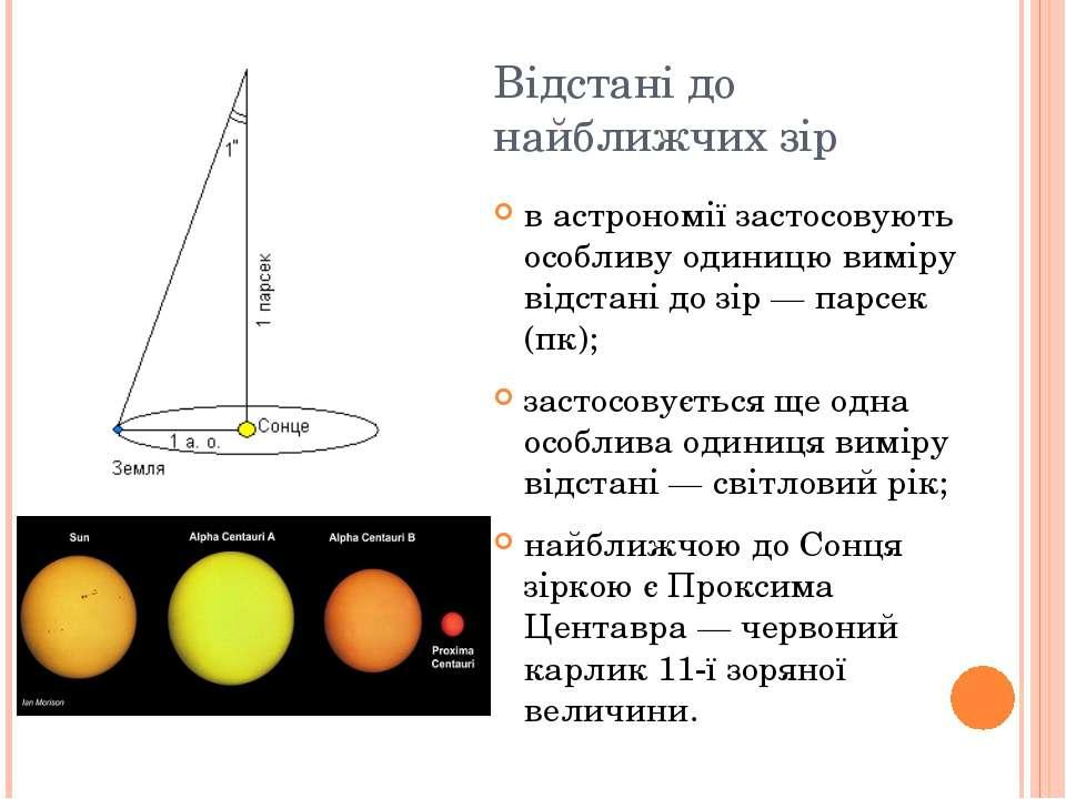 Відстані до найближчих зір в астрономії застосовують особливу одиницю виміру ...