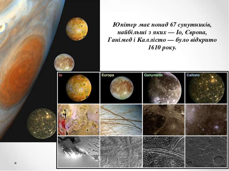 Юпітер має понад 67 супутників, найбільші з яких — Іо, Європа, Ганімед і Калл...