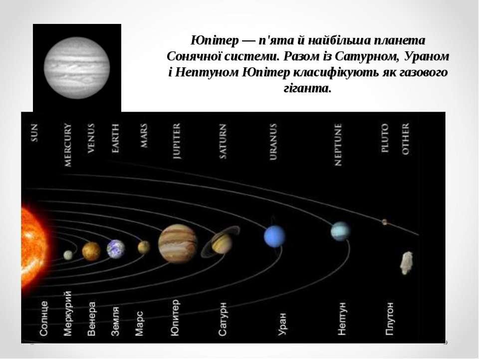 Юпітер — п'ята й найбільша планета Сонячної системи. Разом із Сатурном, Урано...