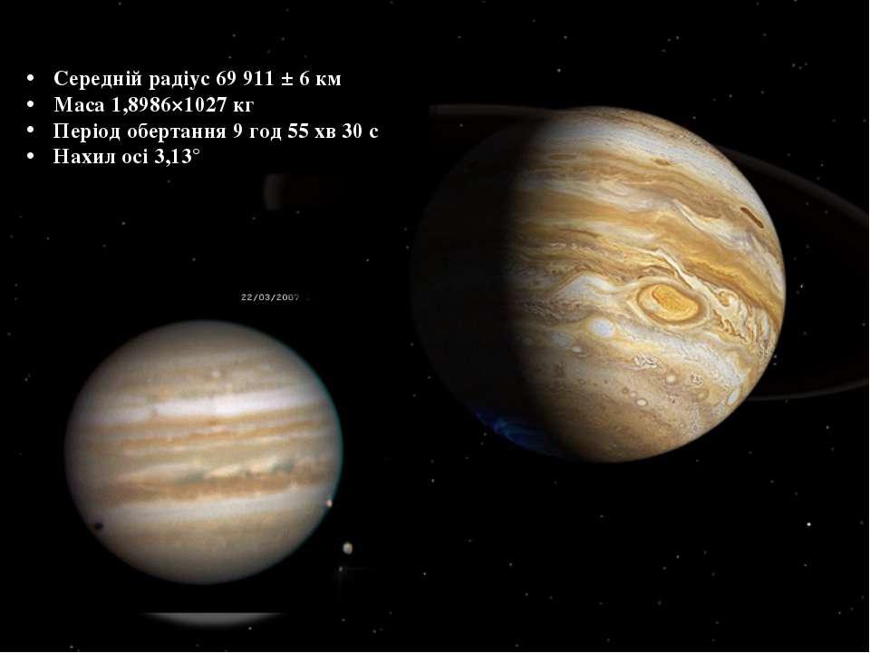 Середній радіус 69 911 ± 6 км Маса 1,8986×1027 кг Період обертання 9 год 55 х...