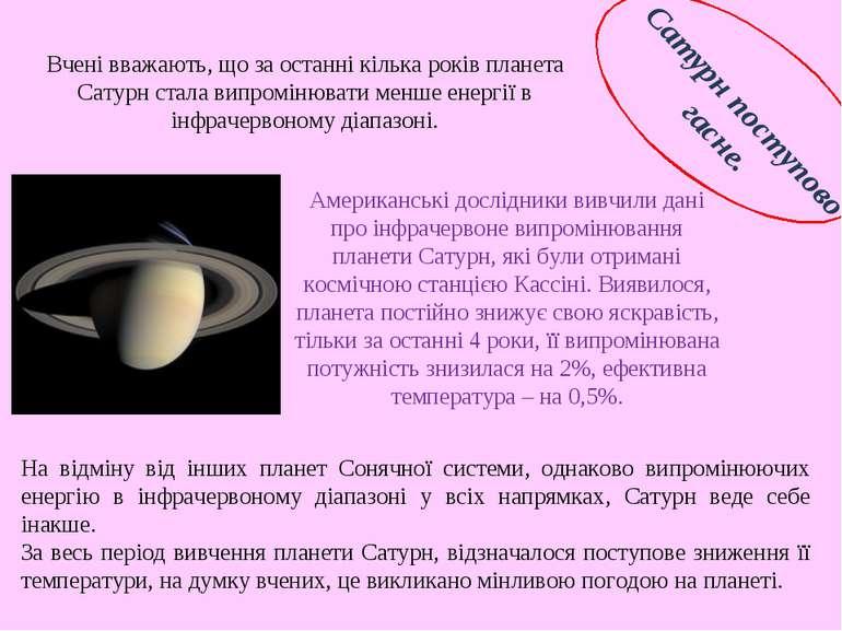 Сатурн поступово гасне