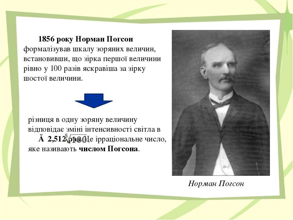 1856 року Норман Погсон формалізував шкалу зоряних величин, встановивши, що з...