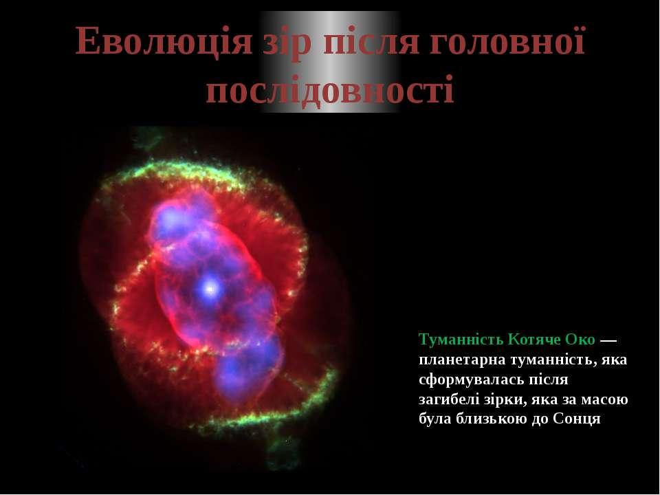 Еволюція зір після головної послідовності Туманність Котяче Око—планетарна т...