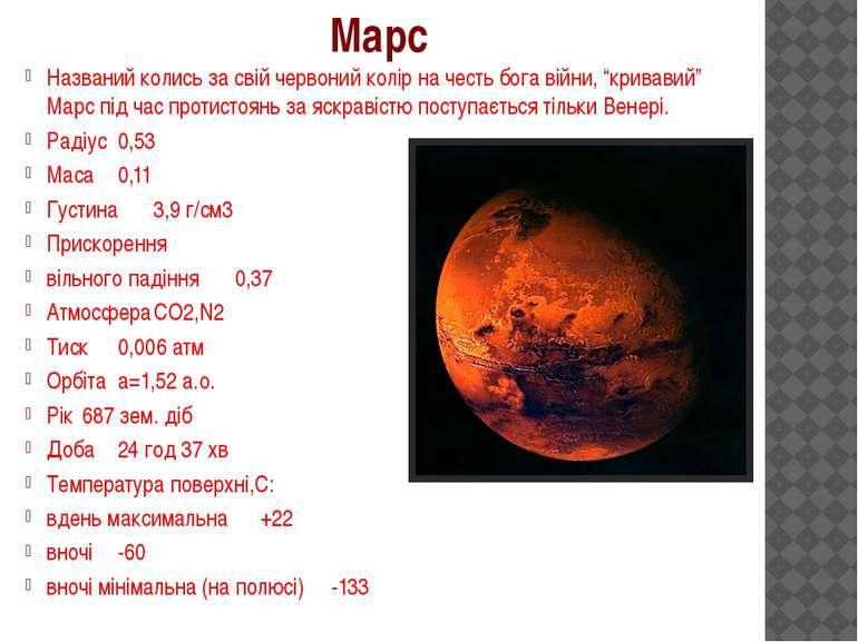 """Названий колись за свій червоний колір на честь бога війни, """"кривавий"""" Марс п..."""