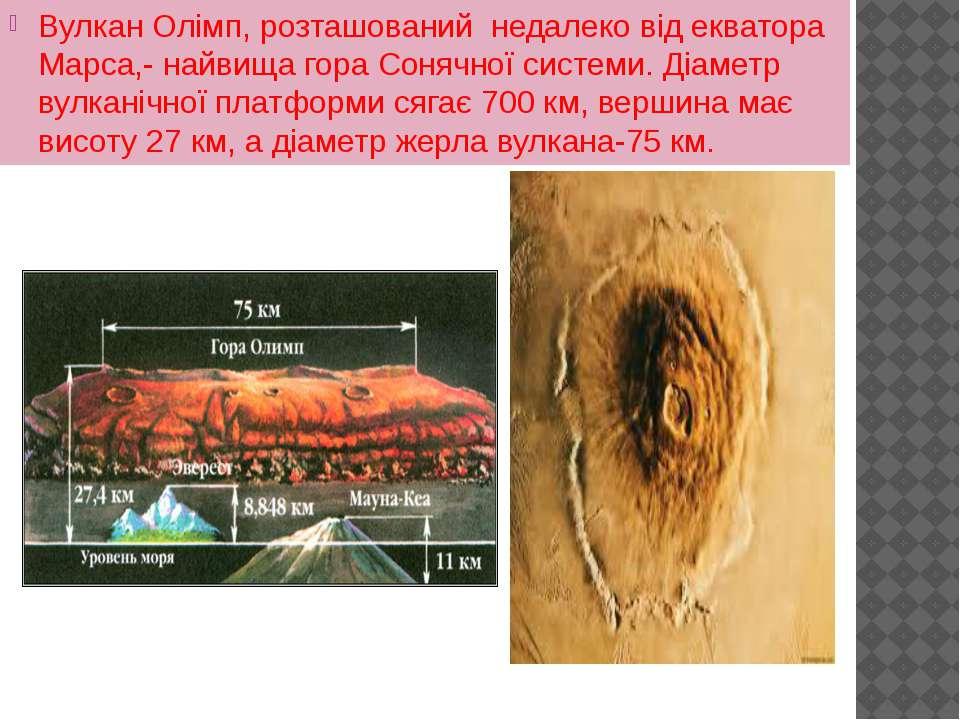 Вулкан Олімп, розташований недалеко від екватора Марса,- найвища гора Сонячно...