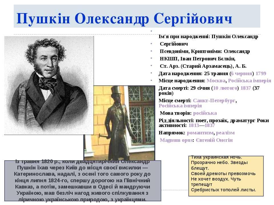 Пушкін Олександр Сергійович Ім'я при народженні: Пушкін Олександр Сергійович ...