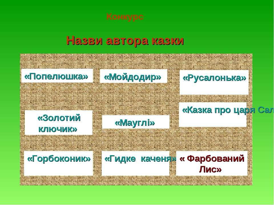 Конкурс Назви автора казки «Попелюшка» «Мойдодир» «Русалонька» «Золотий ключи...