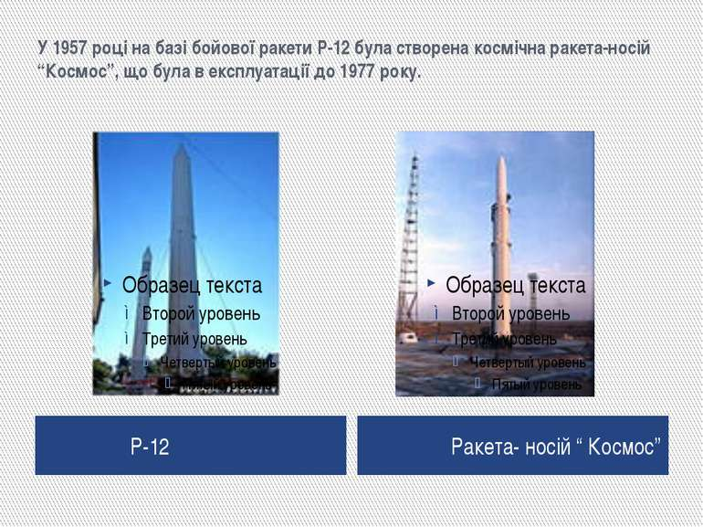 """У 1957 році на базі бойової ракети Р-12 була створена космічна ракета-носій """"..."""