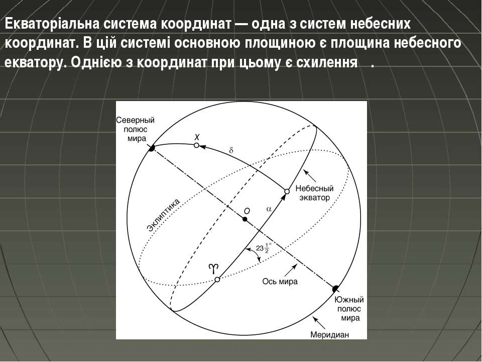 Екваторіальна система координат — одна з систем небесних координат. В цій сис...