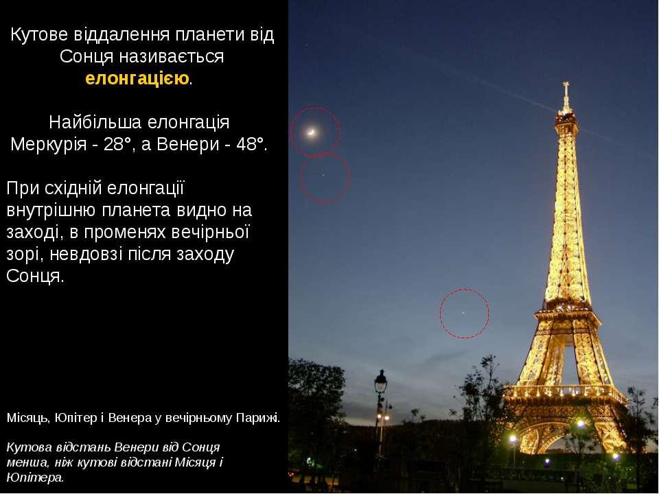 Кутова відстань Венери від Сонця менша, ніж кутові відстані Місяця і Юпітера....
