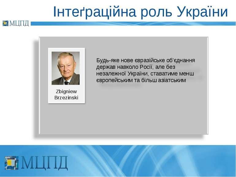 Інтеґраційна роль України Zbigniew Brzezinski