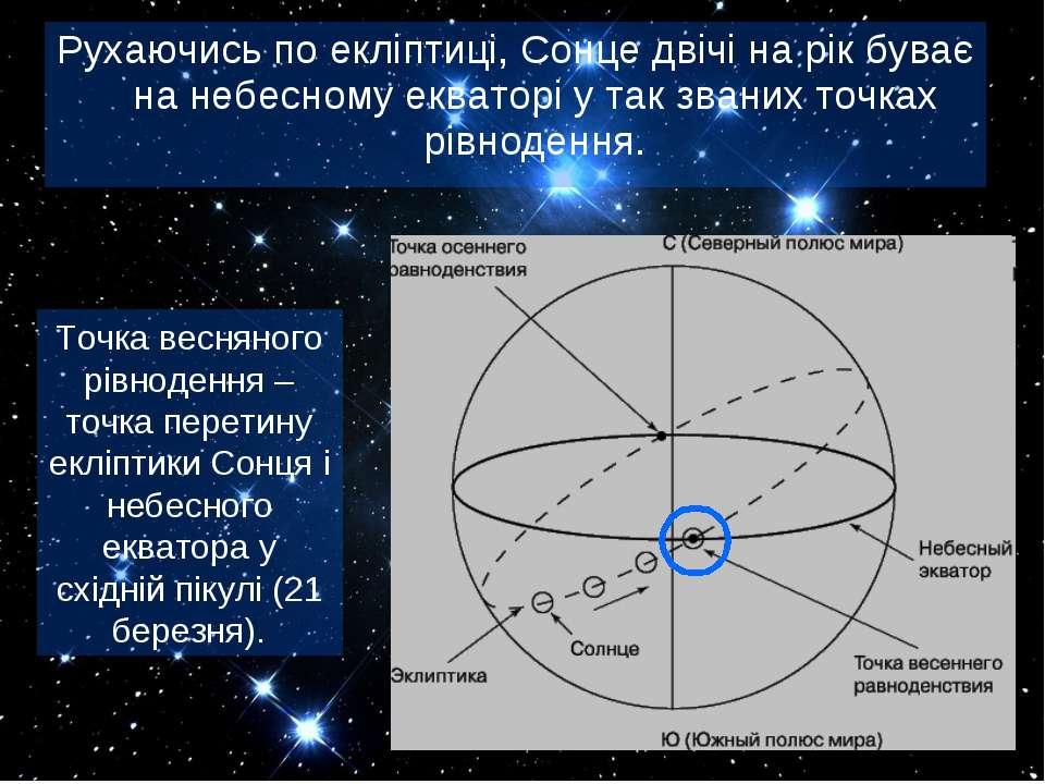 Рухаючись по екліптиці, Сонце двічі на рік буває на небесному екваторі у так ...