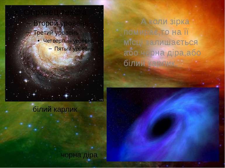 А коли зірка помирає,то на її місці залишається або чорна діра,або білий карл...