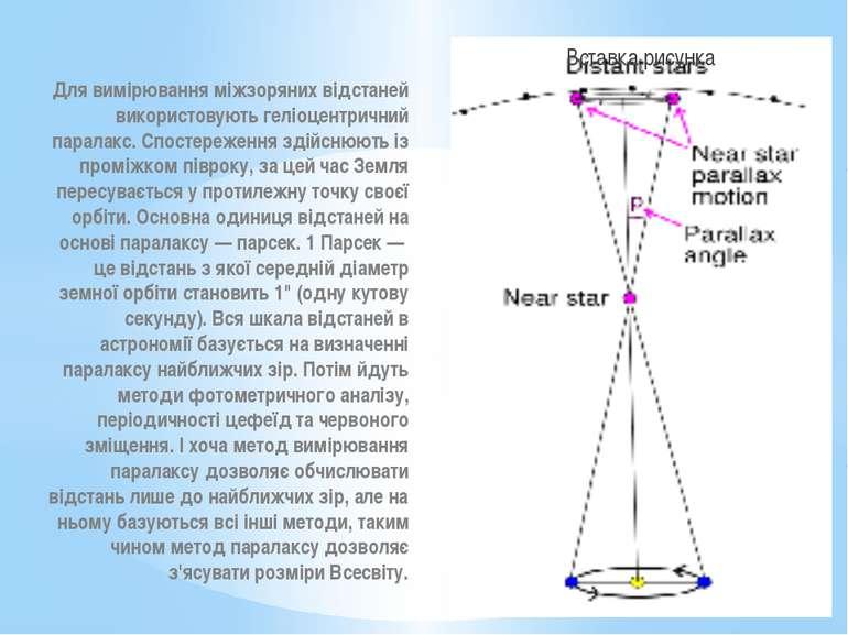 Для вимірювання міжзоряних відстаней використовують геліоцентричний паралакс....