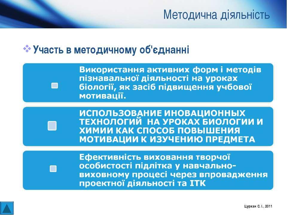 Методична діяльність Участь в методичному об'єднанні Цуркан С. І., 2011 Цурка...
