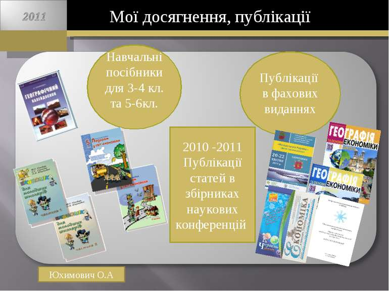 Мої досягнення, публікації Юхимович О.А Навчальні посібники для 3-4 кл. та 5-...