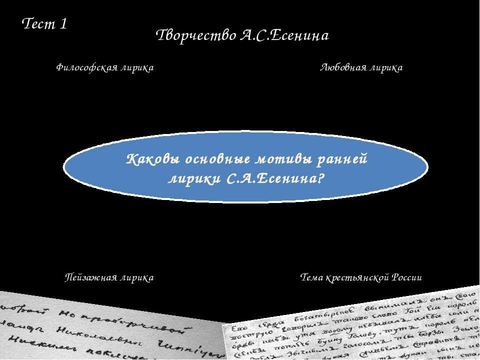 Тест 6 Березой, рощей Кленом Черемухой Дубом Образ автора в поэзии Есенина ча...