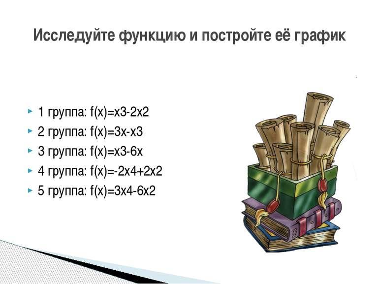1 группа: f(x)=x3-2х2 2 группа: f(x)=3x-x3 3 группа: f(x)=x3-6x 4 группа: f(x...