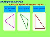 Виды треугольников. По величине наибольшего угла