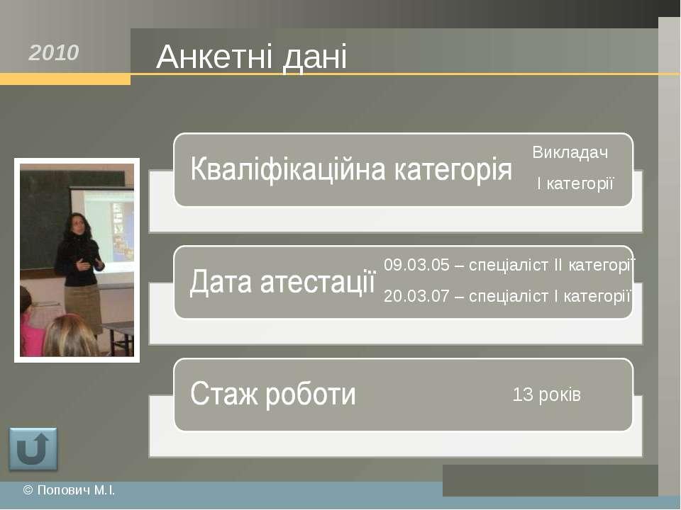 Анкетні дані © Попович М.І. 2010