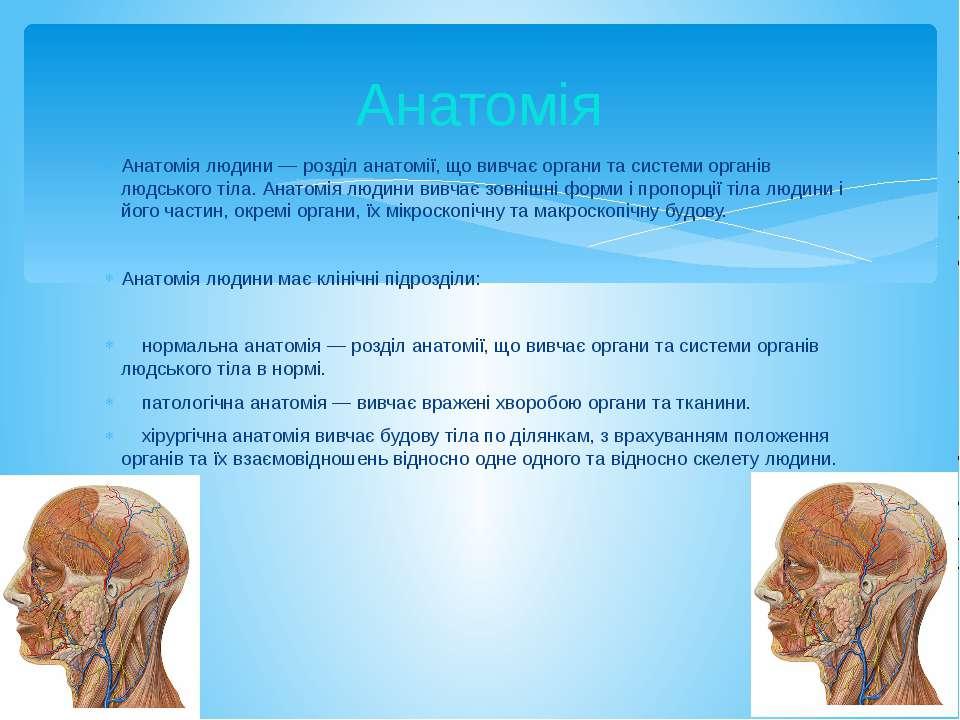 Анатомія людини — розділ анатомії, що вивчає органи та системи органів людськ...