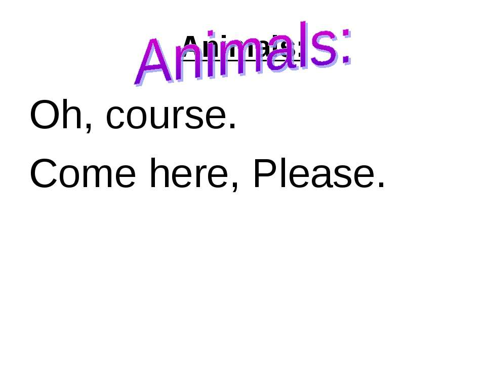 Animals: Oh, course. Come here, Please.