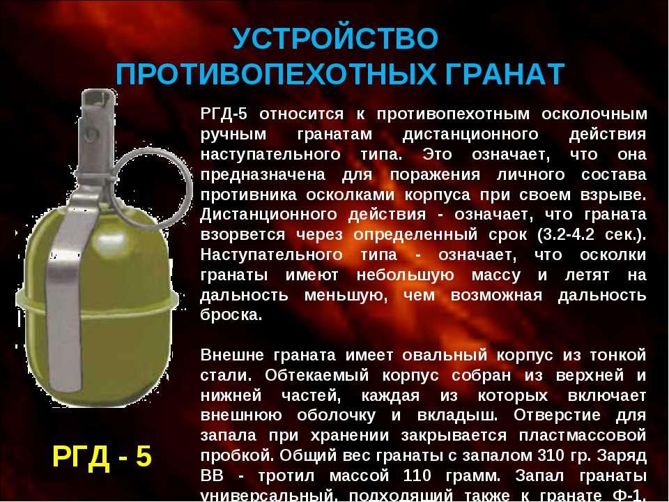 УСТРОЙСТВО ПРОТИВОПЕХОТНЫХ ГРАНАТ РГД - 5 РГД-5 относится к противопехотным о...