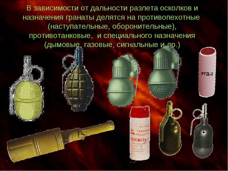 В зависимости от дальности разлета осколков и назначения гранаты делятся на п...