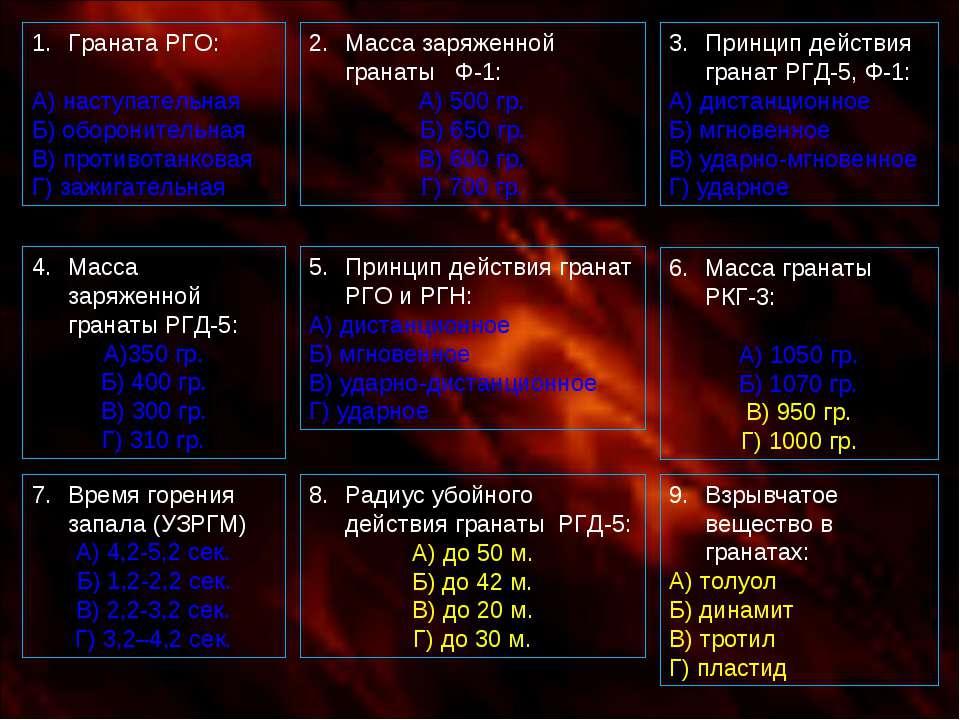 Граната РГО: А) наступательная Б) оборонительная В) противотанковая Г) зажига...