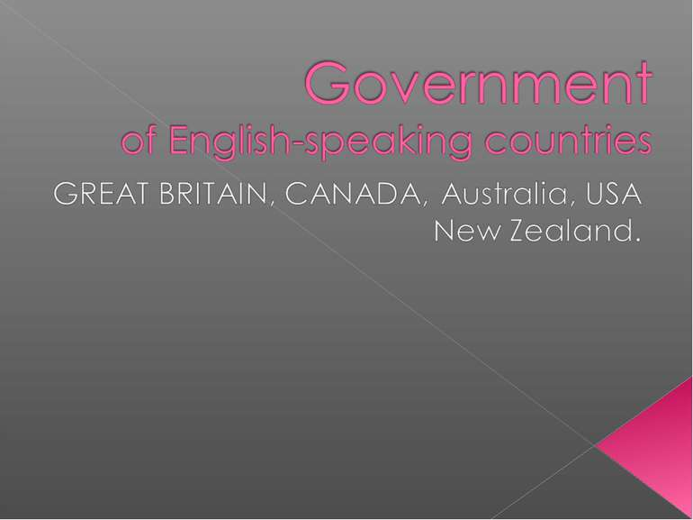 Government of English-speaking countries