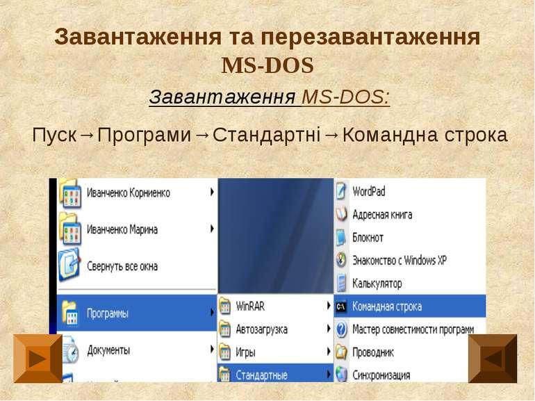 Завантаження та перезавантаження MS-DOS Завантаження MS-DOS: Пуск→Програми→Ст...