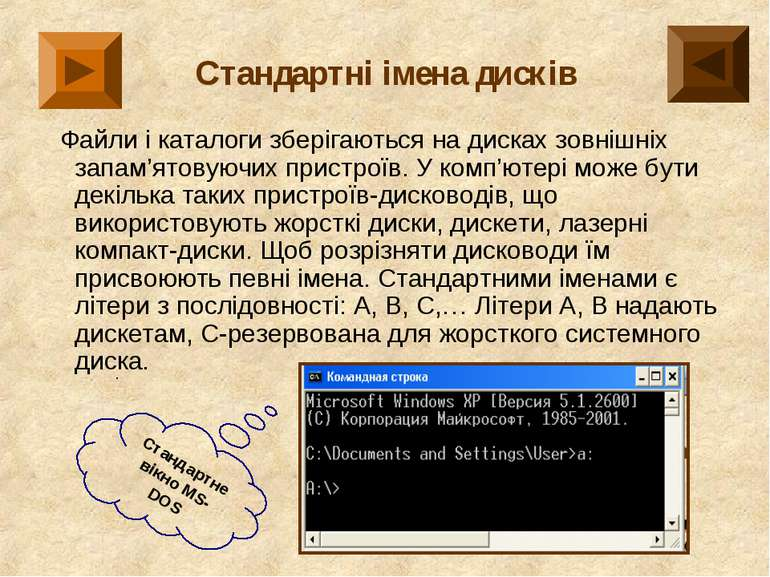 Стандартні імена дисків Файли і каталоги зберігаються на дисках зовнішніх зап...