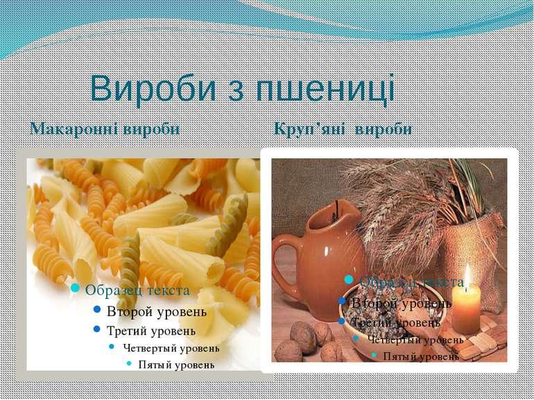 Вироби з пшениці Макаронні вироби Круп'яні вироби