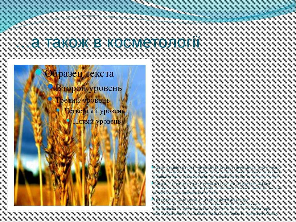 …а також в косметології Масло зародків пшениці - оптимальний догляд за нормал...