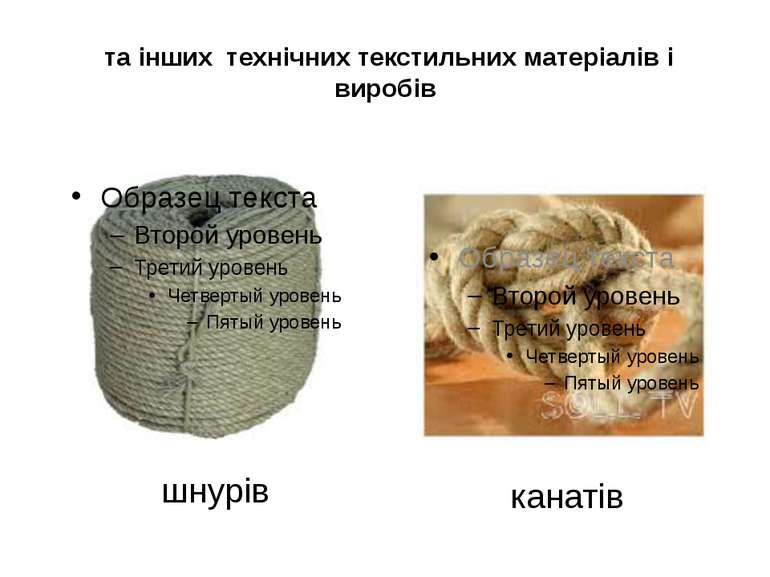 та інших технічних текстильних матеріалів і виробів шнурів канатів