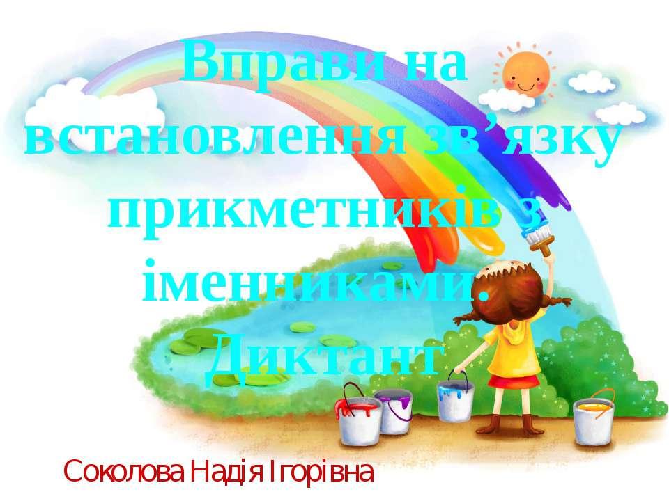 Вправи на встановлення зв'язку прикметників з іменниками. Диктант Соколова На...