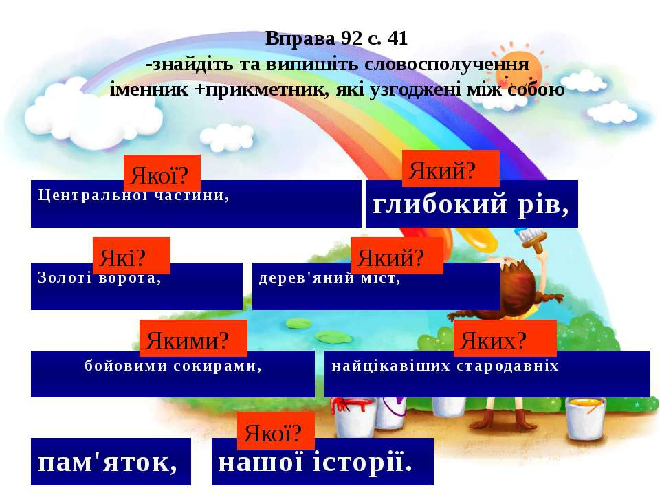 Вправа 92 с. 41 -знайдіть та випишіть словосполучення іменник +прикметник, як...