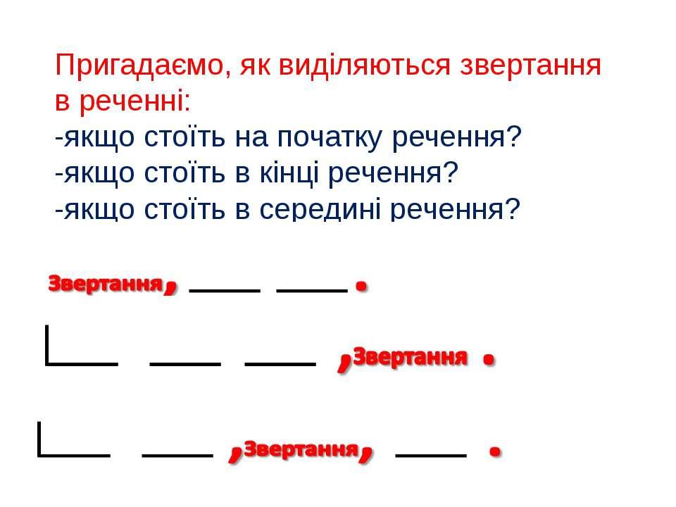 Пригадаємо, як виділяються звертання в реченні: -якщо стоїть на початку речен...