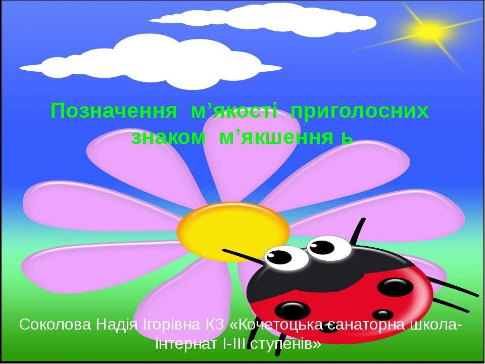 Позначення м'якості приголосних знаком м'якшення ь Соколова Надія Ігорівна КЗ...