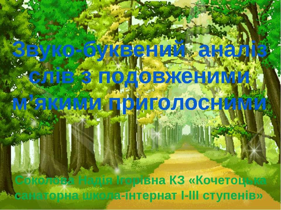 Звуко-буквений аналіз слів з подовженими м'якими приголосними Соколова Надія ...