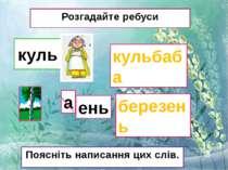 куль Розгадайте ребуси кульбаба березень Поясніть написання цих слів. а ень
