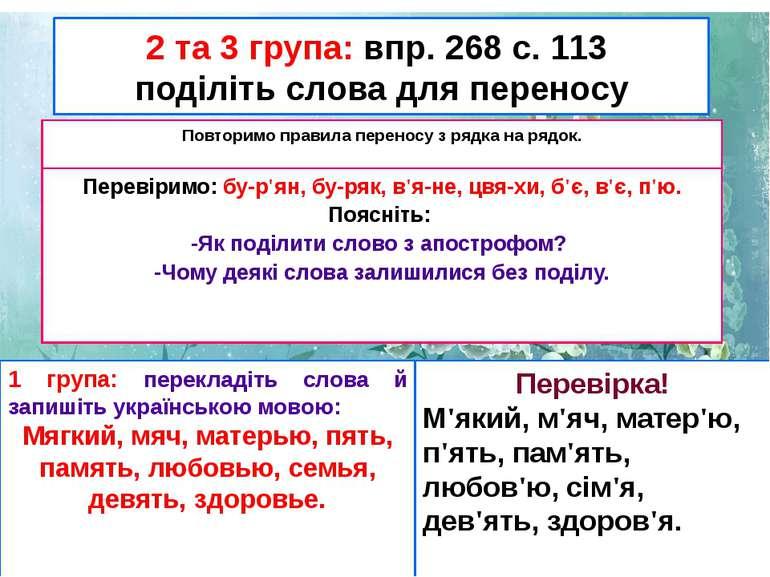 2 та 3 група: впр. 268 с. 113 поділіть слова для переносу Повторимо правила п...