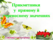 Прикметники у прямому й переносному значеннях Соколова Надія Ігорівна