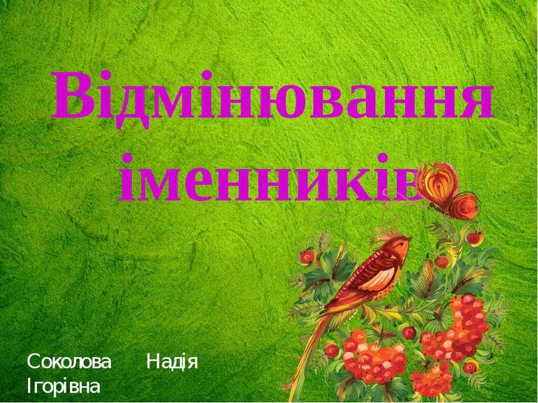 Відмінювання іменників Соколова Надія Ігорівна
