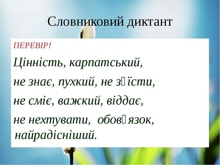 Словниковий диктант ПЕРЕВІР! Цінність, карпатський, не знає, пухкий, не з᾿їст...