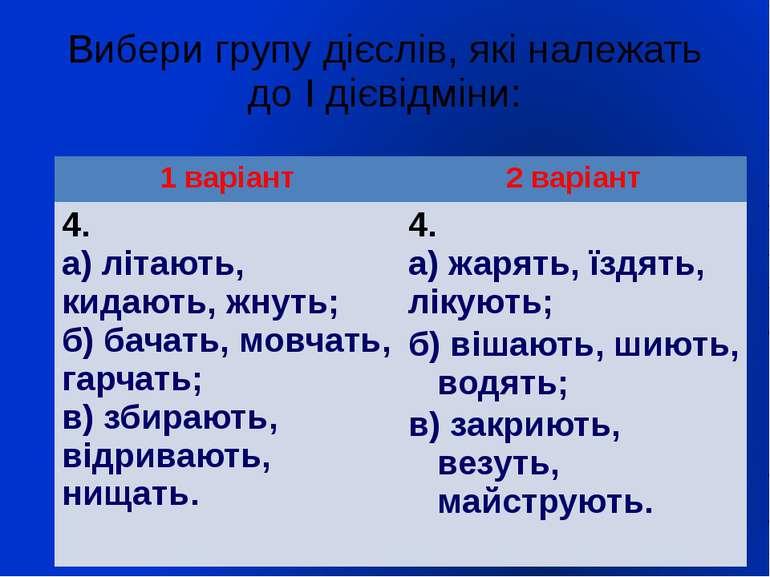Вибери групу дієслів, які належать до І дієвідміни: 1 варіант 2 варіант 4. а)...