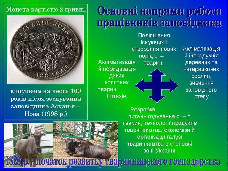 Монета вартістю 2 гривні, випущена на честь 100 років після заснування запові...