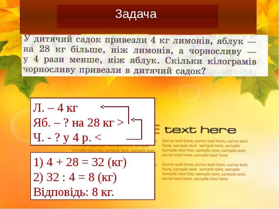 Самостійна робота Задача Л. – 4 кг Яб. – ? на 28 кг > Ч. - ? у 4 р. < 1) 4 + ...