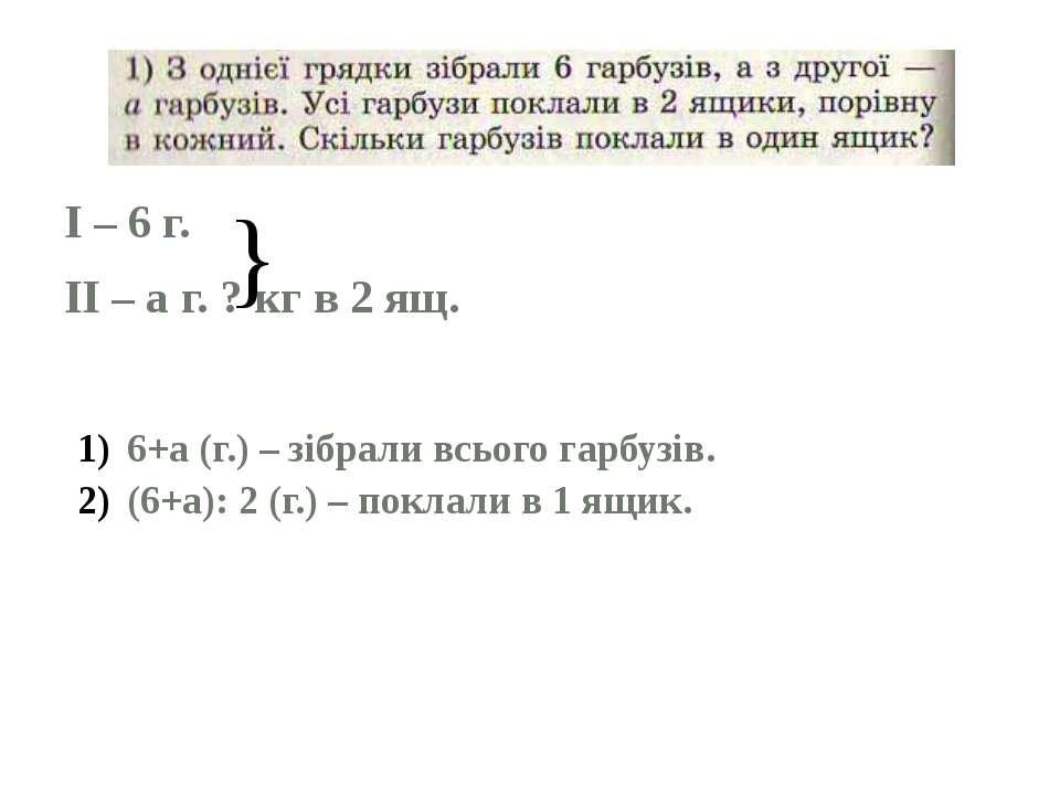 I – 6 г. II – а г. ? кг в 2 ящ. } 6+а (г.) – зібрали всього гарбузів. (6+а): ...
